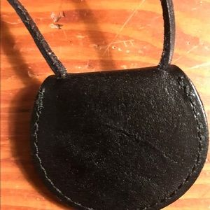 Madewell Jewelry - Madewell black leather circle pouch necklace NWT